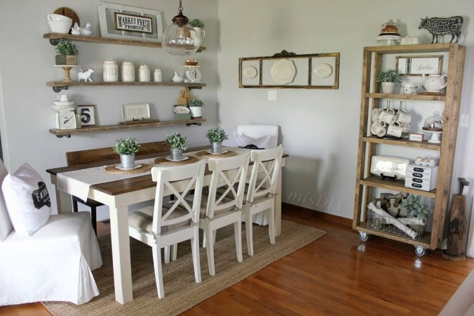 Our Dining Room Kept The Industrial Rustic Look For Just Over A Year And I Was Ready Change Wanted Shelving To Be Less Chunky Believe Were